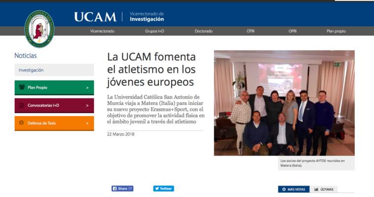 Articolo: La UCAM fomenta el atletismo en los jóvenes europeos