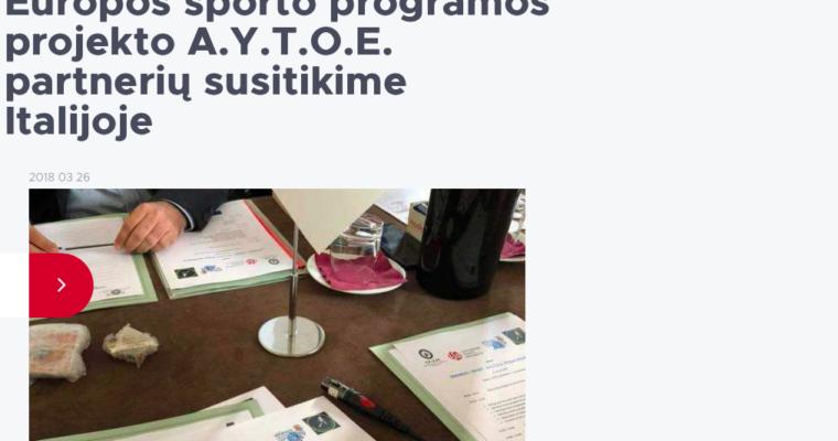 Articolo: LSU atstovai – Europos sporto programos projekto A.Y.T.O.E. partnerių susitikime Italijoje