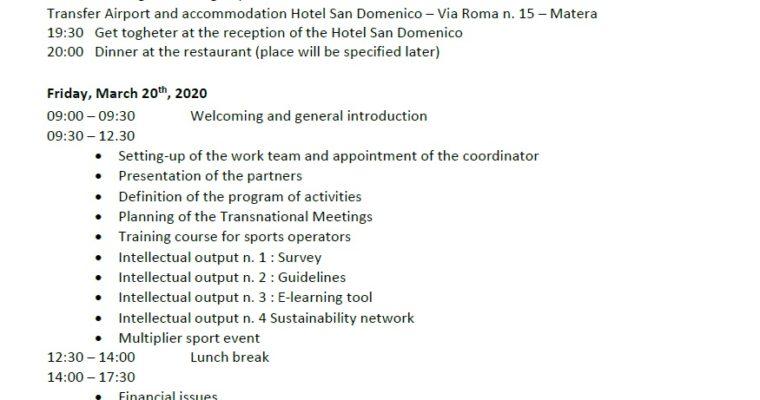 Agenda Kick Off Meeting